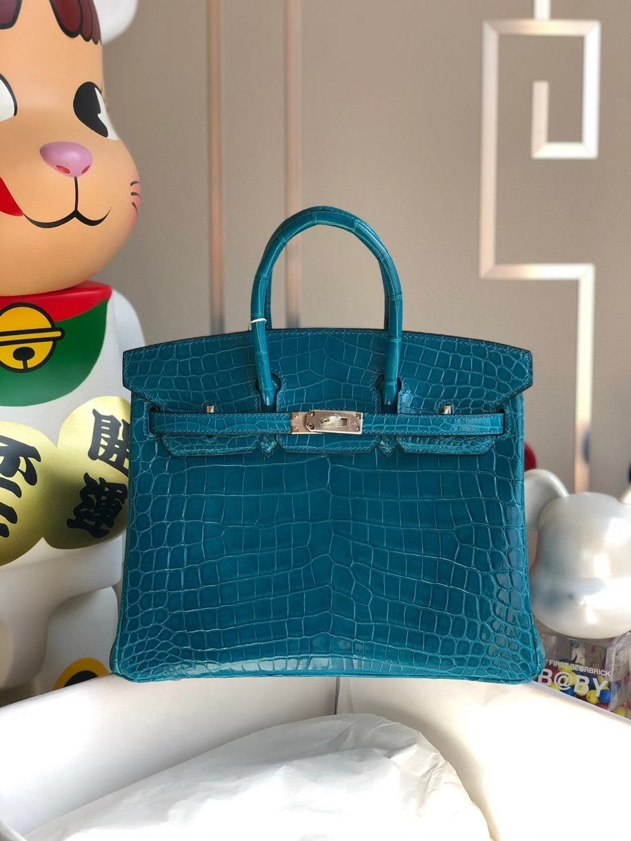 Hermès(爱马仕)Birkin 25cm Crocodile shiny 亮面鳄鱼 7w伊兹密尔蓝 银扣 顶级手缝 品相完美 现货