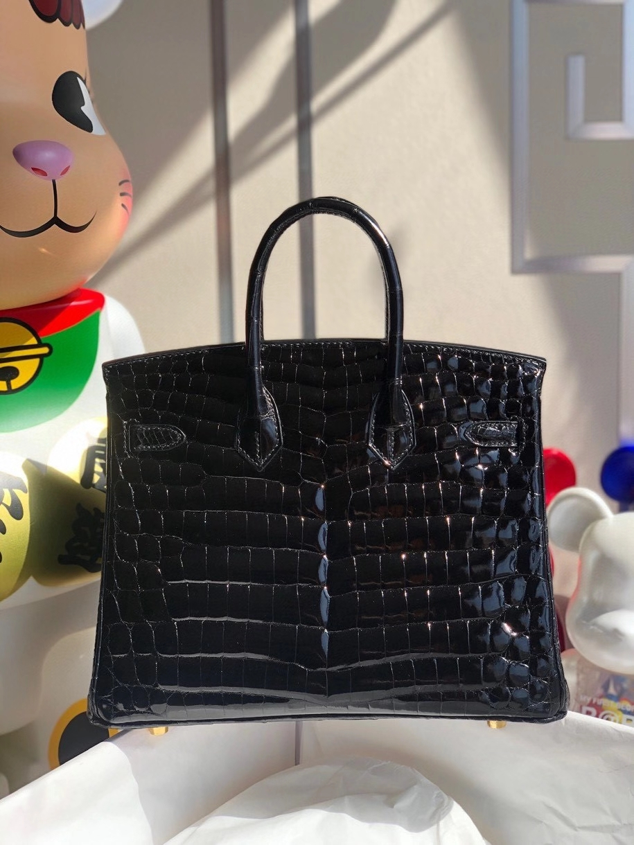 Hermès(爱马仕)Birkin 25cm Crocodile shiny 亮面鳄鱼 ck89 黑色 Noir  金扣 顶级手缝 品相完美 拱珠现货