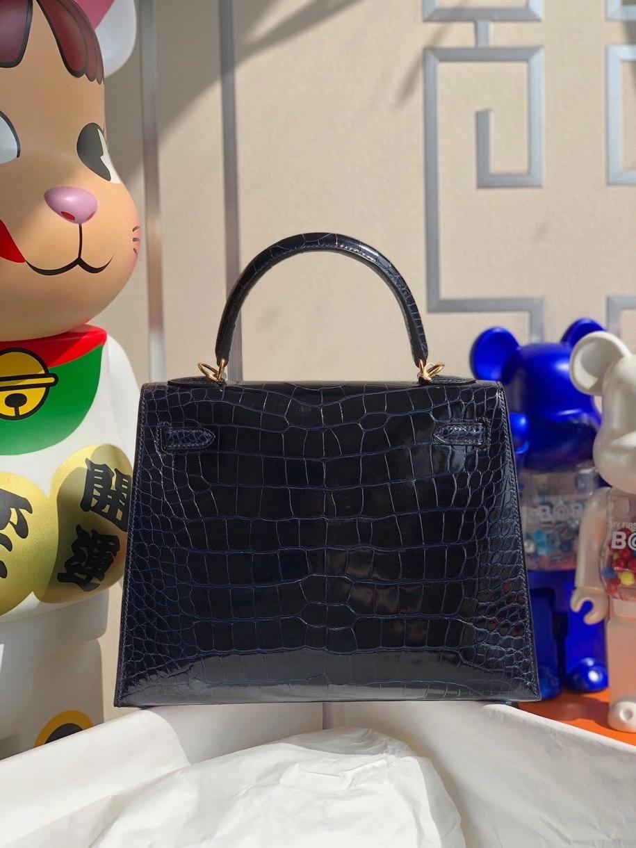 Hermès(爱马仕)Kelly 25cm Alligator shiny 亮面鳄鱼7k 宝石蓝 金扣 顶级手缝  现货
