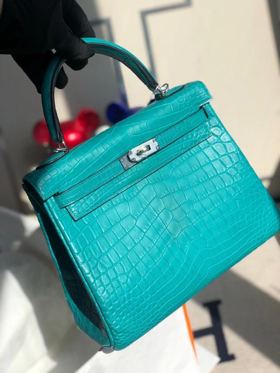 Hermès(爱马仕)Kelly 25cm Crocodile matt 雾面鳄鱼 7F孔雀蓝 银扣 顶级手缝 现货