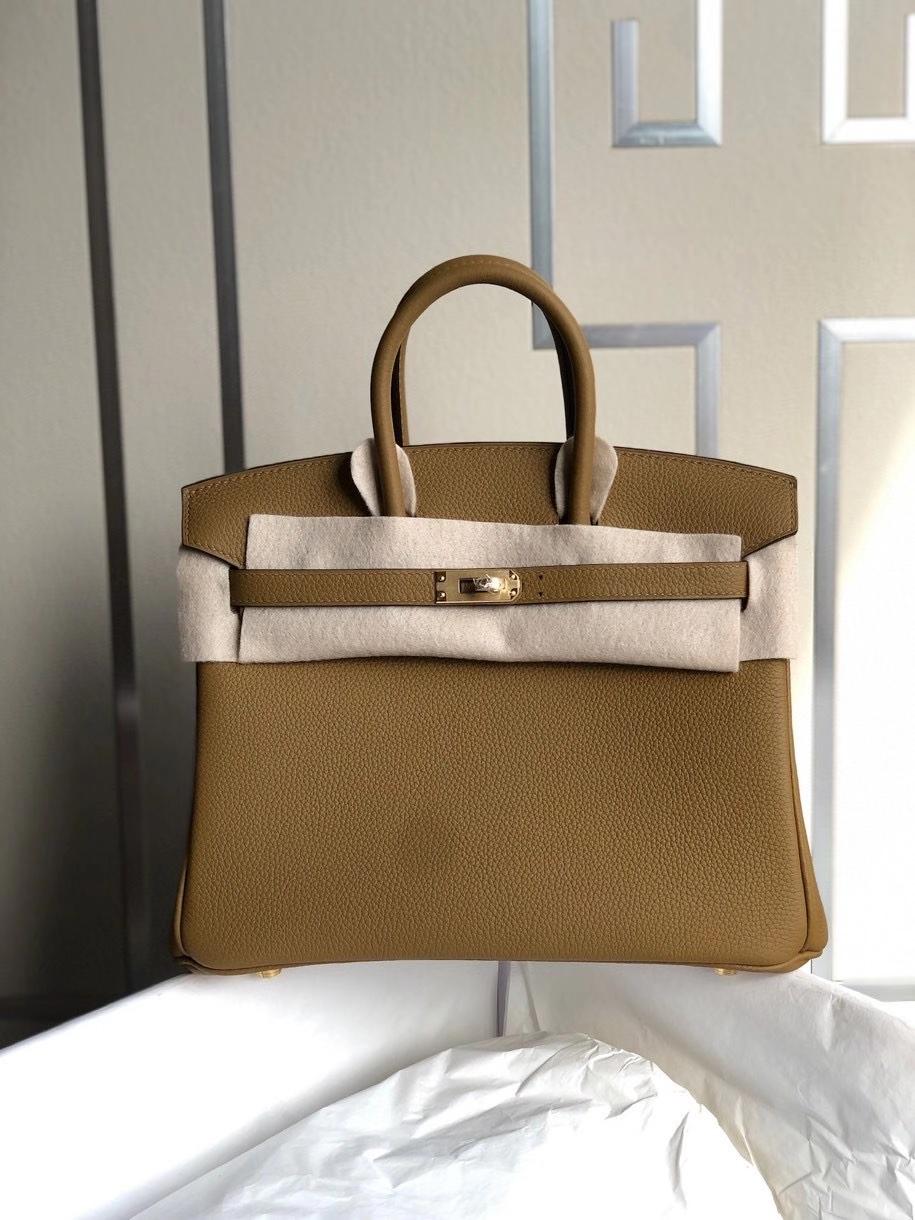 Hermès(爱马仕)Birkin 25cm 原厂小牛皮 U8 铜金色 内拼锡器灰 金扣 顶级手缝 定制