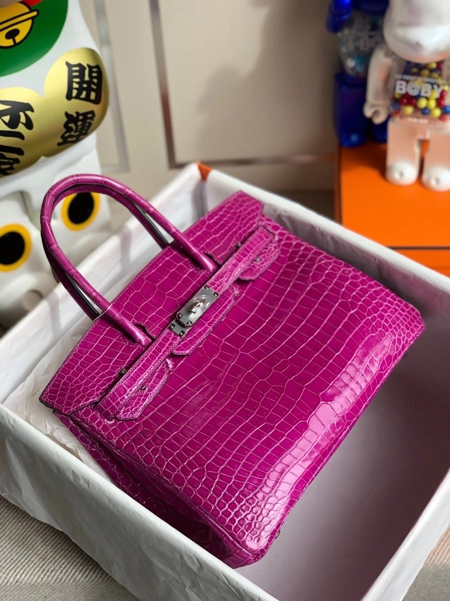 Hermès(爱马仕)Birkin 30cm Porosus shiny 亮面澳洲湾鳄 L3 玫瑰紫 rose purple 银扣 顶级手缝 现货