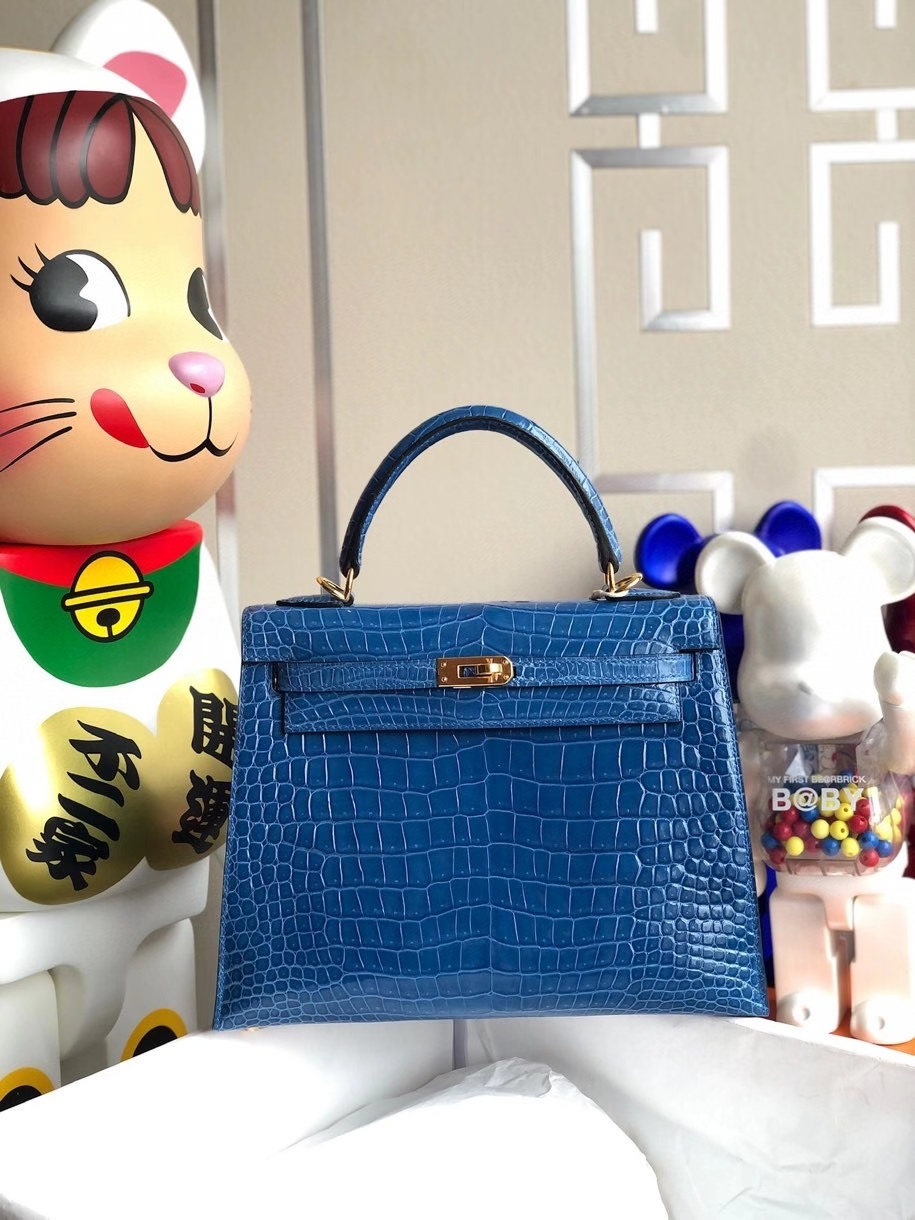 Hermès(爱马仕)Kelly 25cm Porosus shiny 亮面澳洲湾鳄 7Q希腊蓝 Mykonos 金扣 顶级手缝 现货