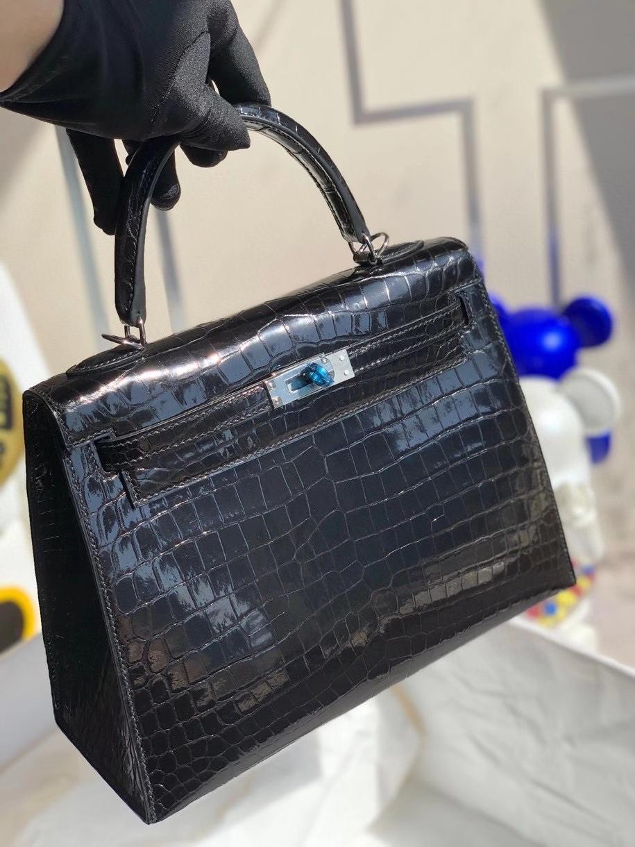 Hermès(爱马仕)Kelly 25cm Crocodile shiny 亮面鳄鱼 ck89 黑色 Noir 银扣 顶级手缝 现货