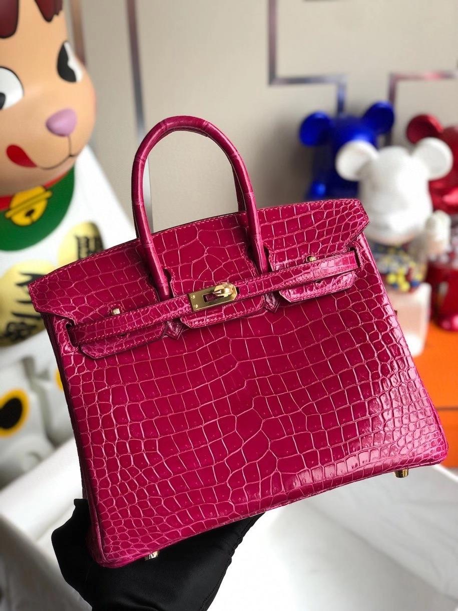 Hermès(爱马仕)Birkin 25cm Porosus shiny 亮面澳洲鳄鱼 E5 桃红 金扣 顶级手缝 现货