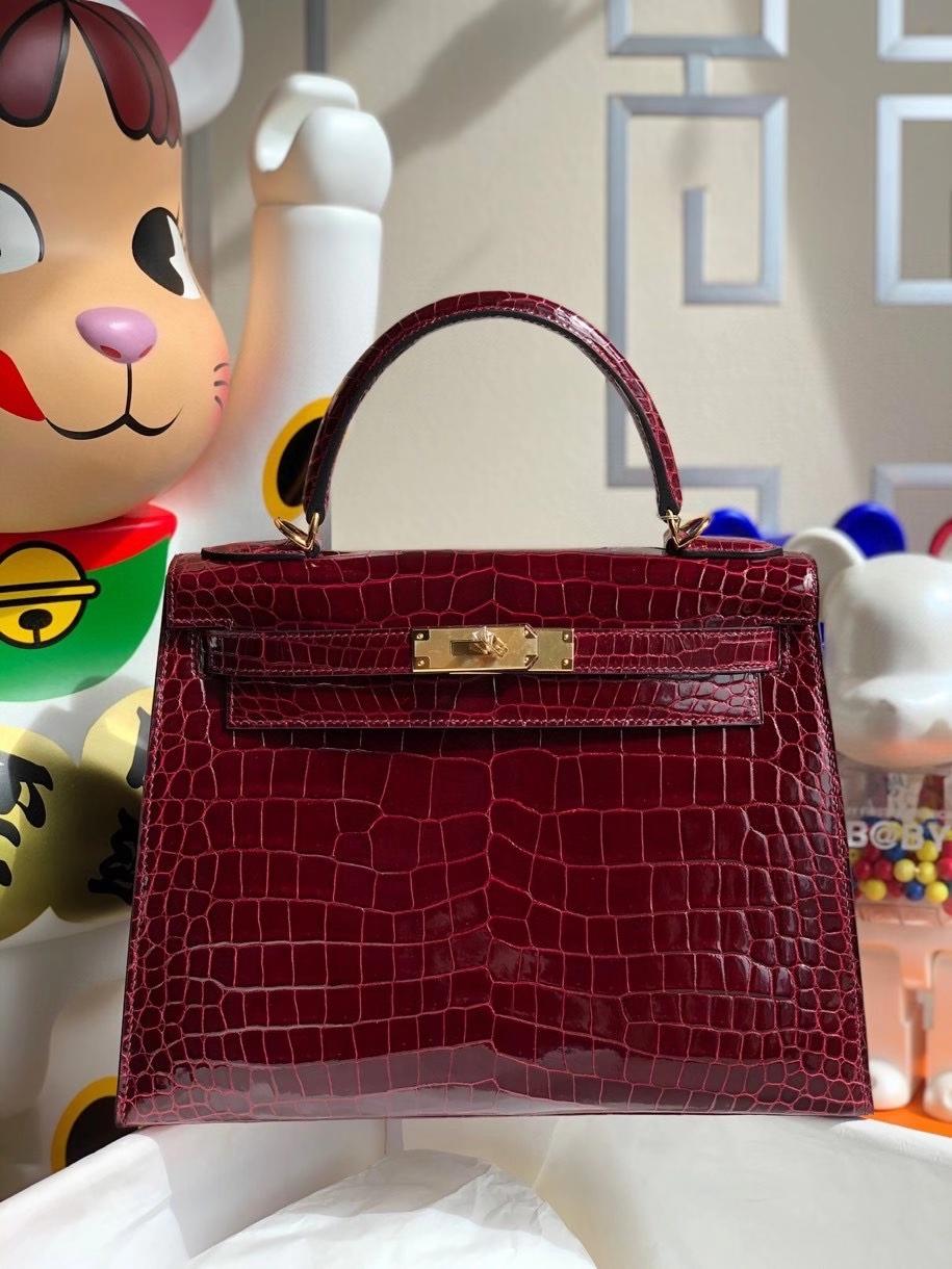 Hermès(爱马仕)Kelly 28cm porosus shiny 亮面澳洲湾鳄  ck57 波尔多酒红 金扣 顶级手缝 现货