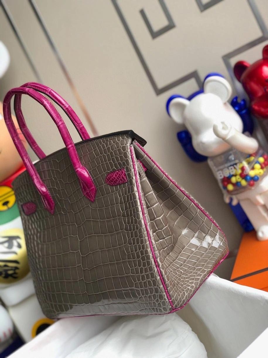 Hermès(爱马仕)Birkin 30cm 亮面澳洲湾鳄 ck81 斑鸠灰 gris T 拼 J5 天方夜谭粉紫 金扣 马蹄印 顶级手缝 现货