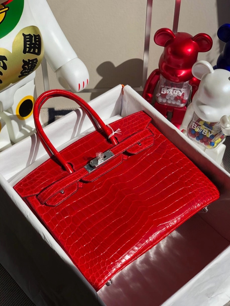 Hermès(爱马仕)Birkin 30cm Crocodile shiny 亮面鳄鱼 ck95 法拉利红 Braise 银扣 顶级手缝 现货