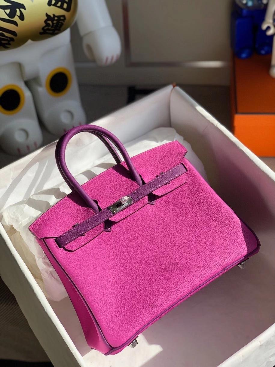 Hermès(爱马仕)Birkin 25cm togo 原厂小牛皮 玉兰粉拼海葵紫 银扣 马蹄印 顶级手缝