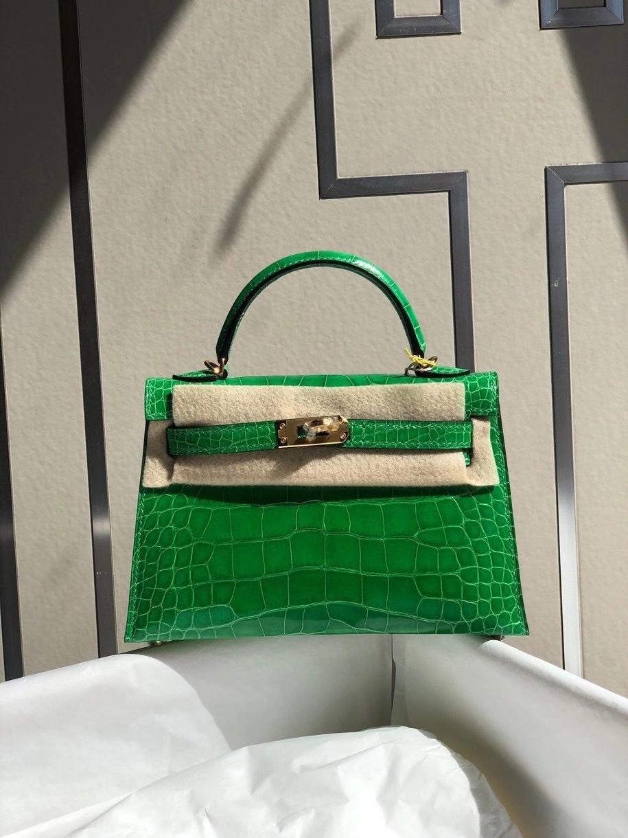 Hermès(爱马仕)Mini kelly ll alligator shiny 亮面鳄鱼 1 L仙人掌 金扣 顶级手缝 小可爱 现货