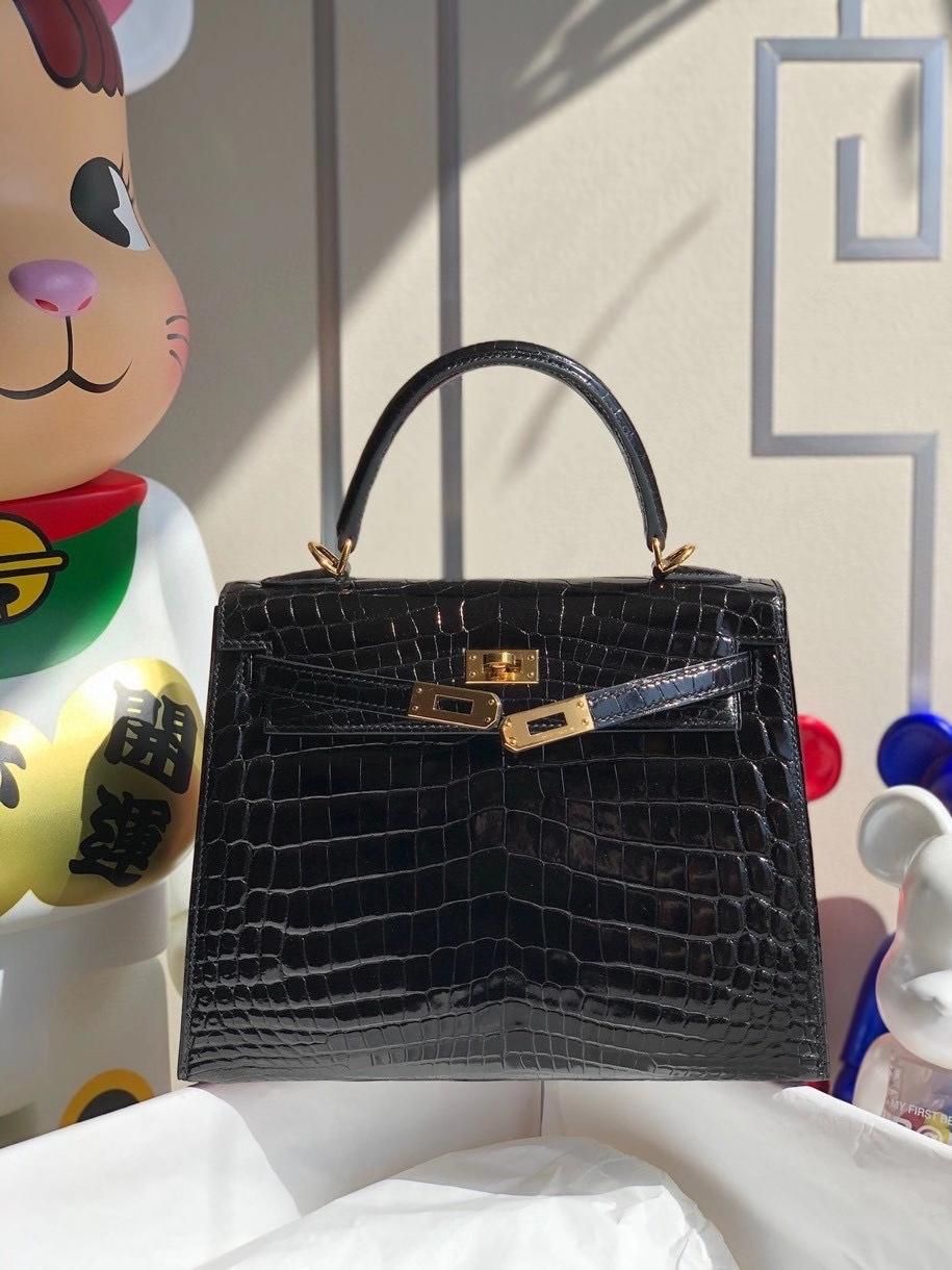 Hermès(爱马仕)Kelly 25cm Crocodile shiny 亮面鳄鱼 ck89 黑色 Noir  金扣 顶级手缝 拱珠现货