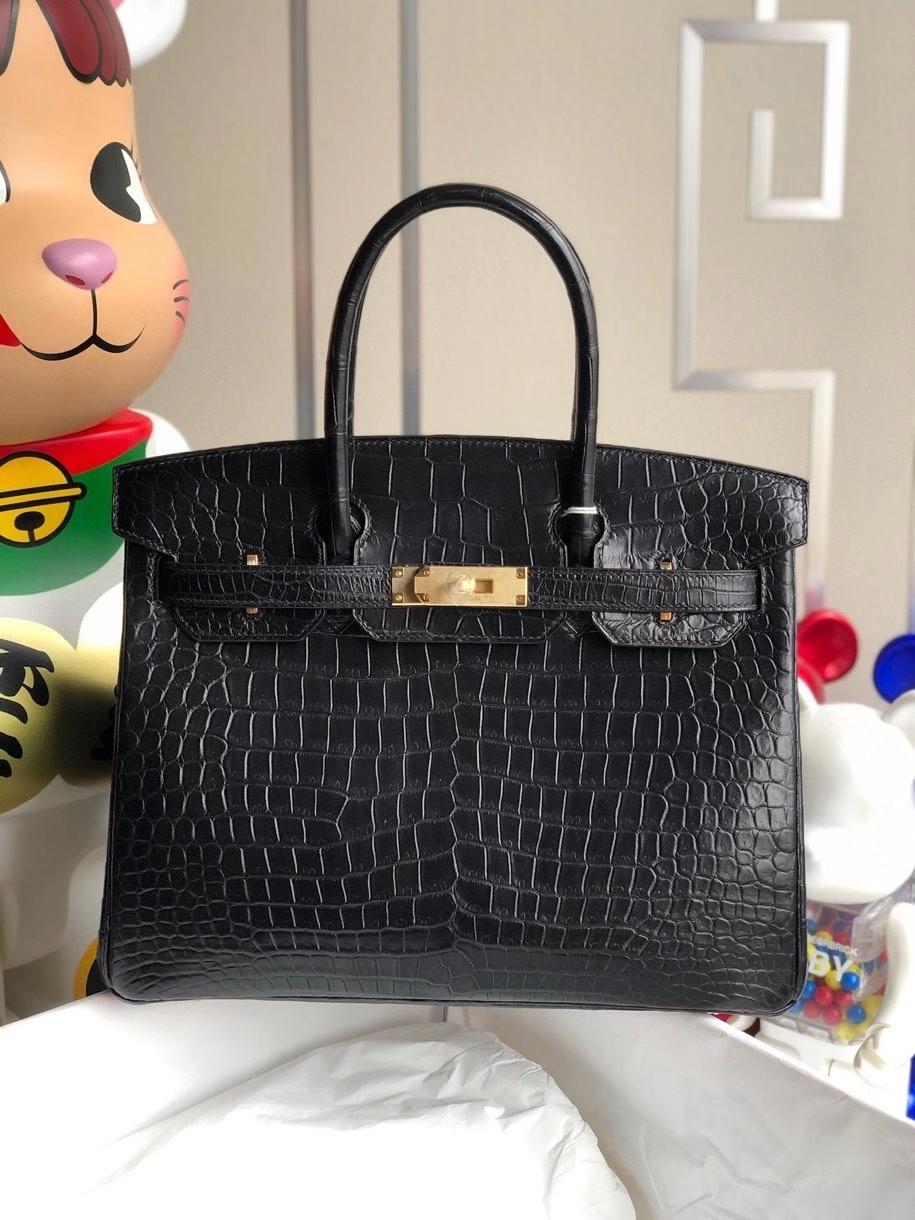 Hermès(爱马仕)Birkin 30cm Porosus matt 雾面鳄鱼 ck89 黑色 Noir 金扣 顶级手缝 现货