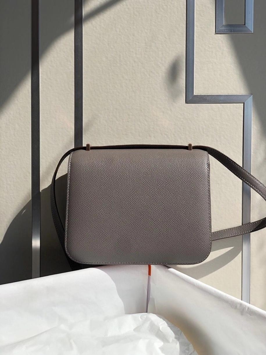 Hermès(爱马仕)Constance 18cm Epsom 原厂掌纹皮  8F 锡器灰 Etain 玫瑰金扣 顶级手缝 现货
