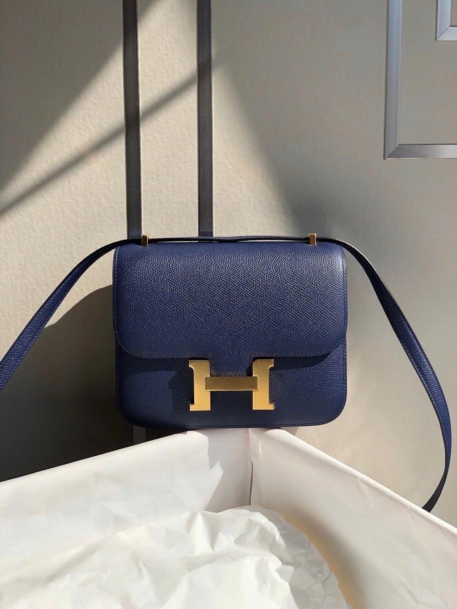 Hermès(爱马仕)Constance 18cm Epsom 原厂掌纹皮 7k 宝石蓝 金扣 顶级手缝 现货