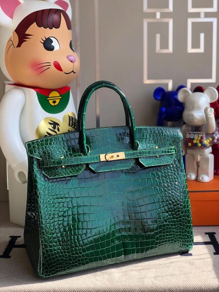 Hermès(爱马仕)Birkin 40cm Porosus shiny 亮面鳄鱼ck67 祖母绿 金扣 顶级手缝 定制