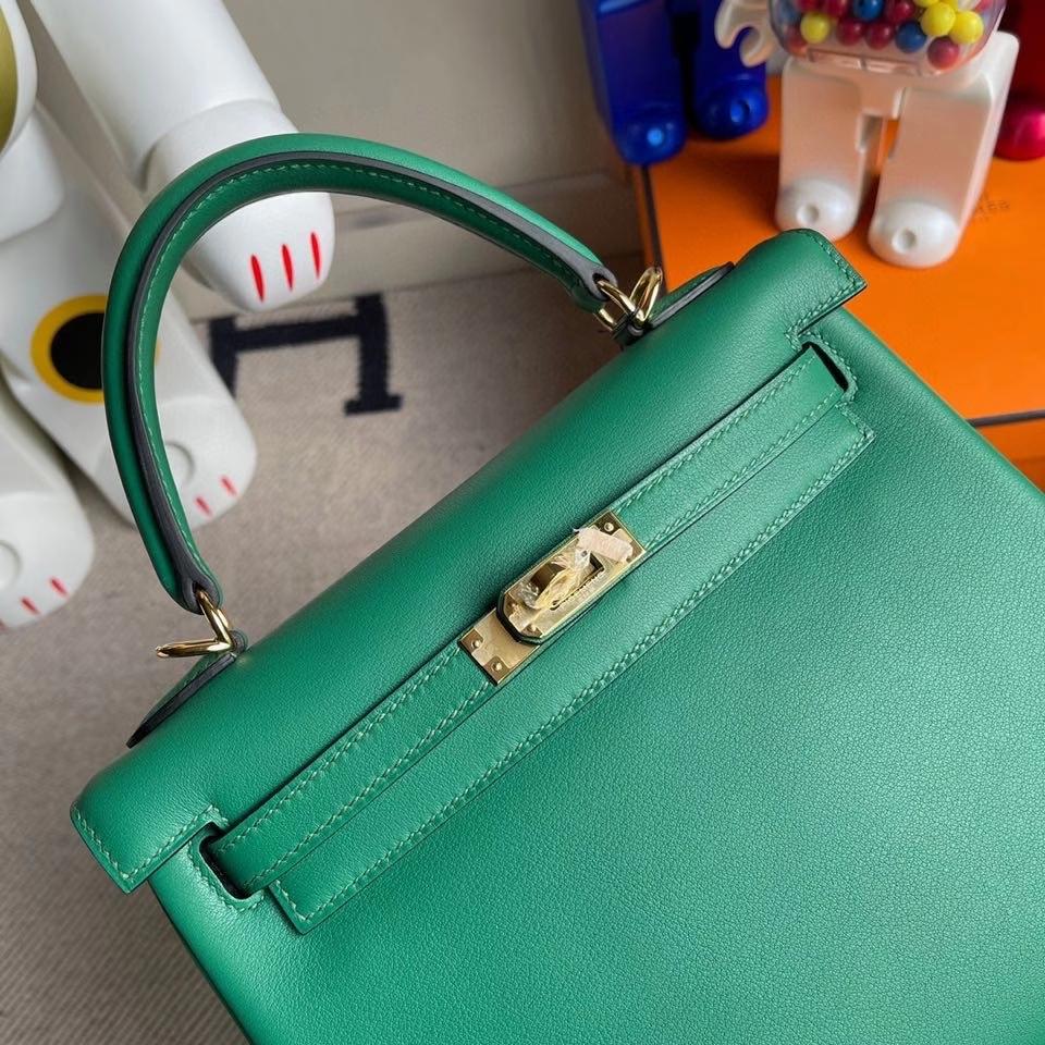 Hermès(爱马仕)Kelly 25cm Swift  U4 丝绒绿 金扣 顶级手缝 现货