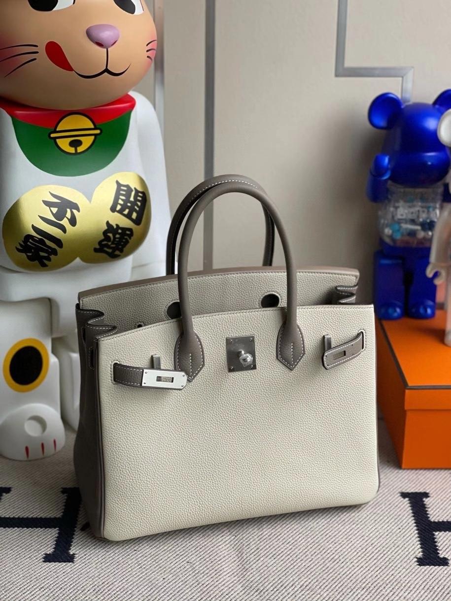 Hermès(爱马仕)Birkin 30cm 原厂小牛皮 ck10 奶昔白拼大象灰 拉丝银扣  马蹄印 顶级手缝