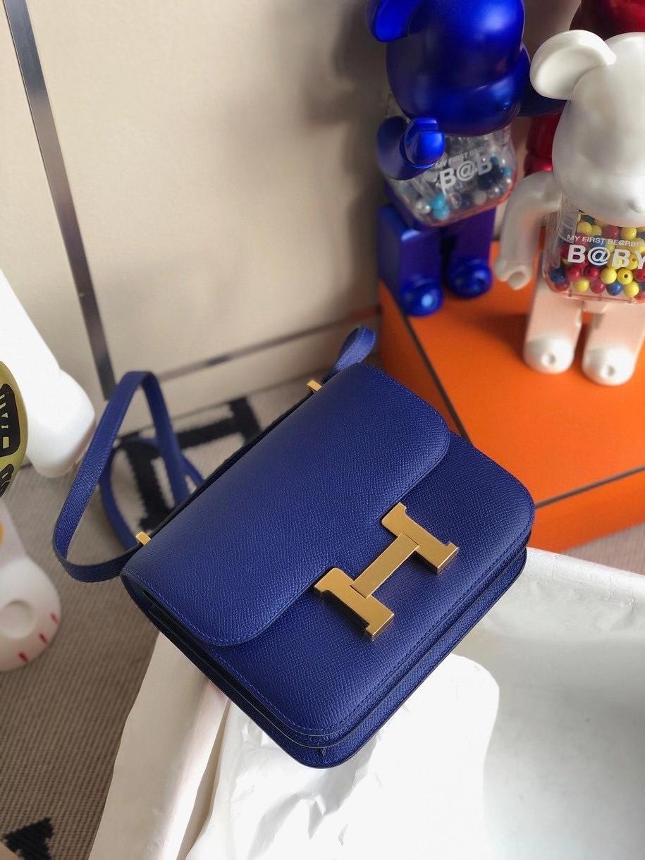 Hermès(爱马仕)Constance 18cm Epsom 原厂掌纹皮  7T 电光蓝 金扣 顶级手缝