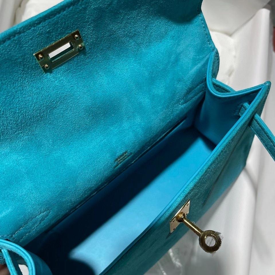 Hermès(爱马仕)mini kelly pochette 22cm 麂皮 孔雀蓝 金扣 顶级手缝 定制