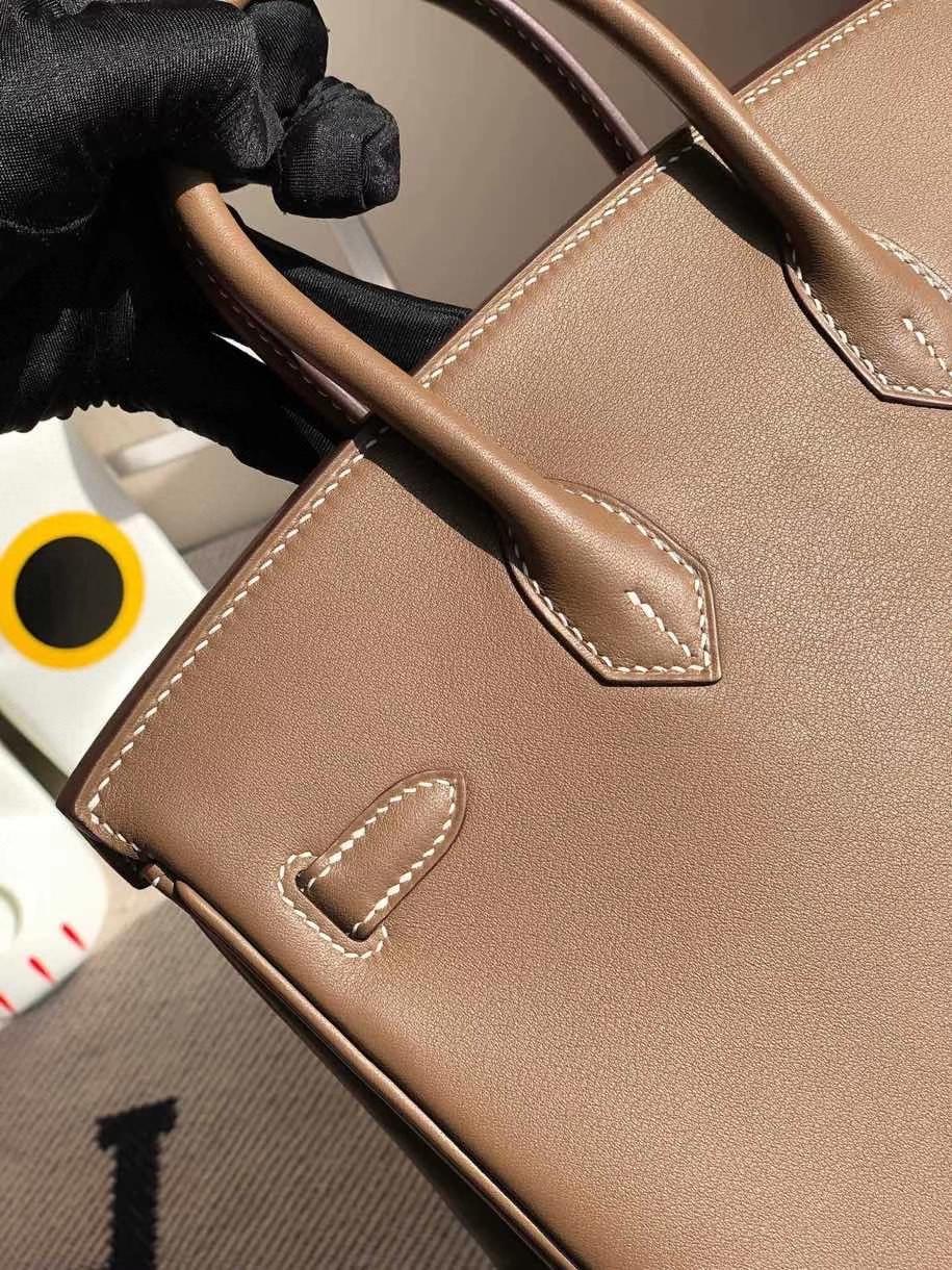 Hermès(爱马仕)Birkin 原厂swift 皮 ck18 大象灰 etoupe 银扣 顶级手缝 25cm