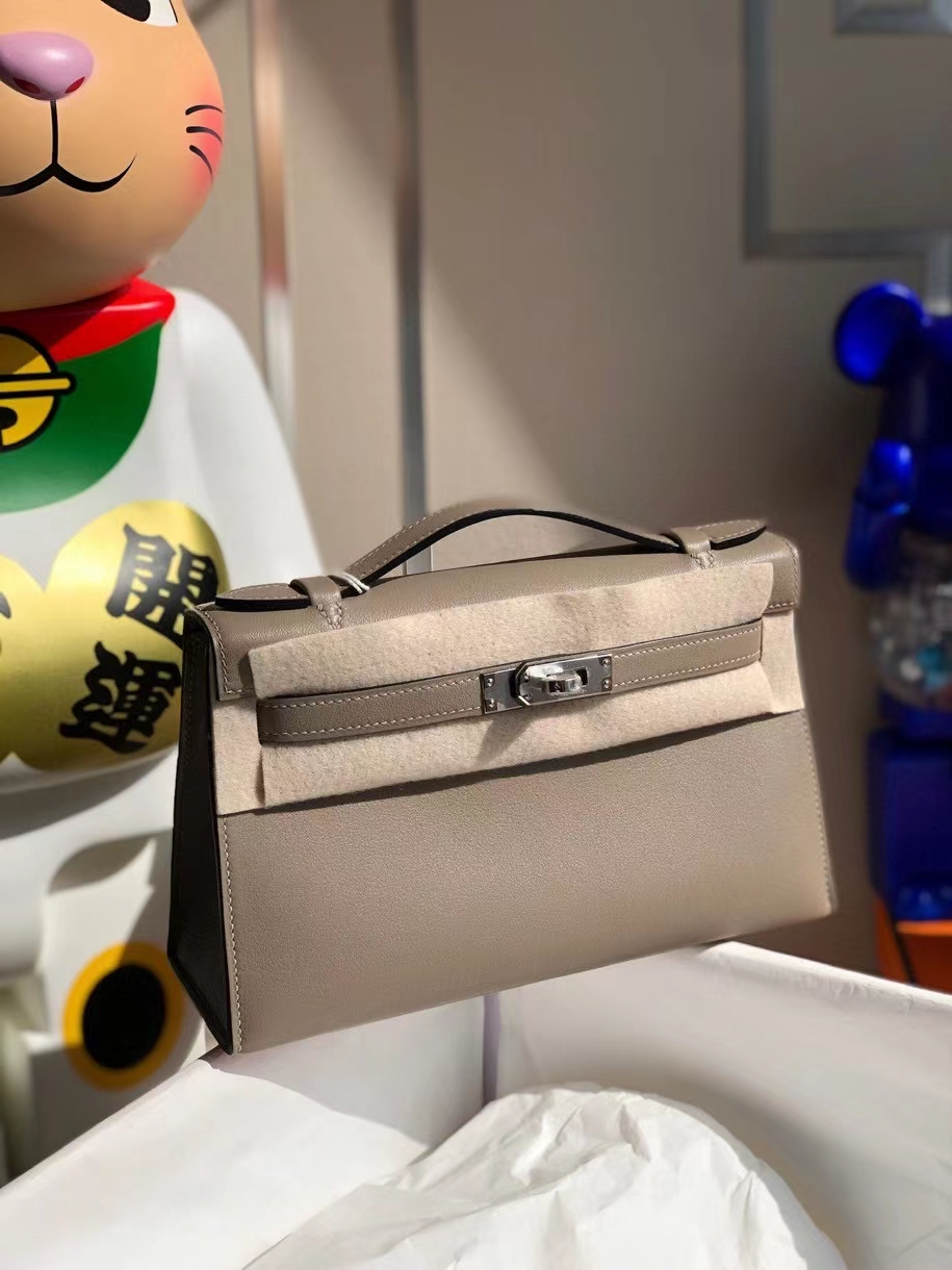 Hermès(爱马仕)Mini kelly swift  M8 沥青灰 gris ashpite 银扣 顶级手缝 手拿包 晚宴包
