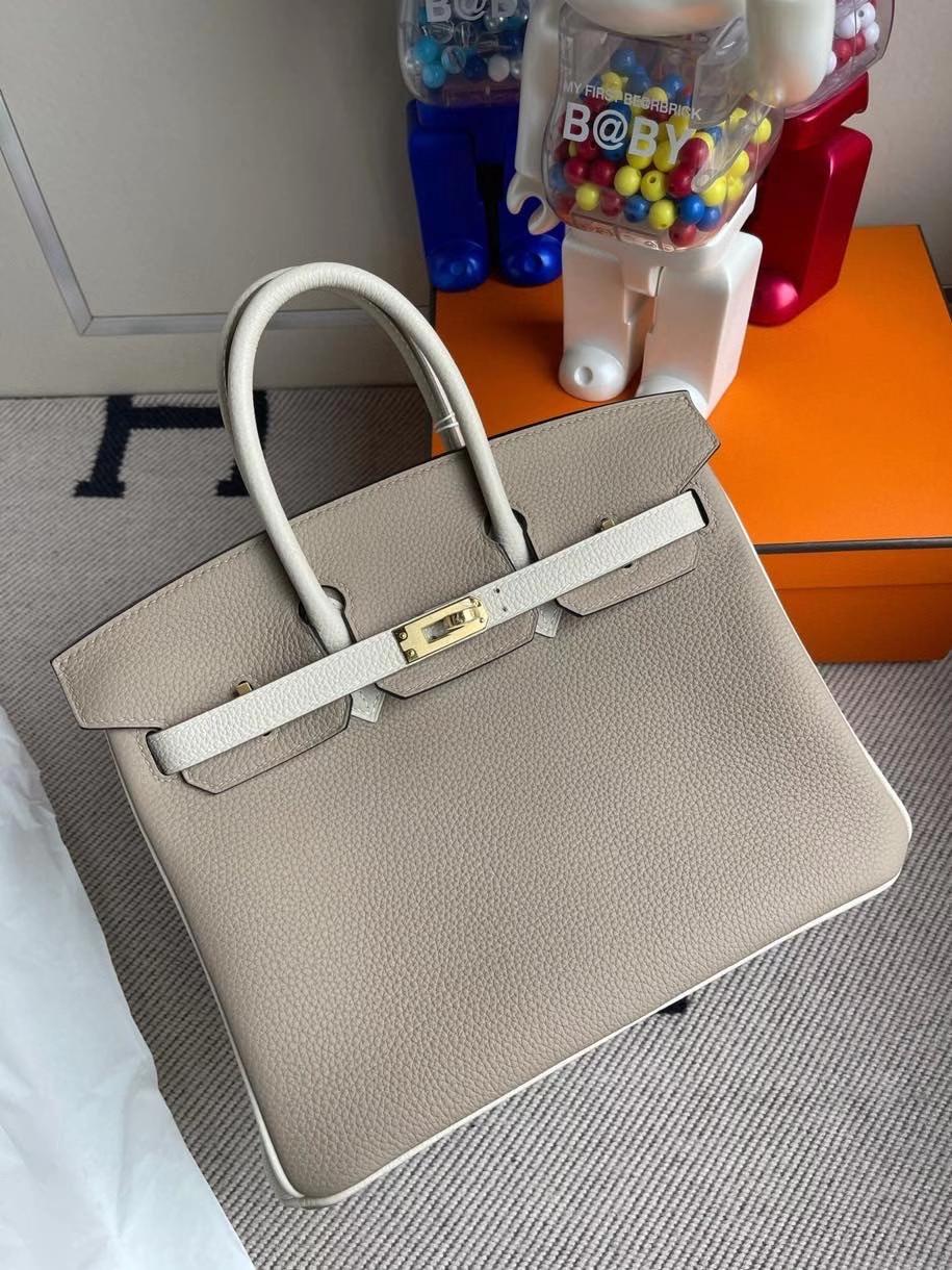 Hermès(爱马仕)Birkin 25cm 原厂小牛皮 togo ck81 斑鸠灰拼ck10 奶昔白 金扣 马蹄印 顶级手缝