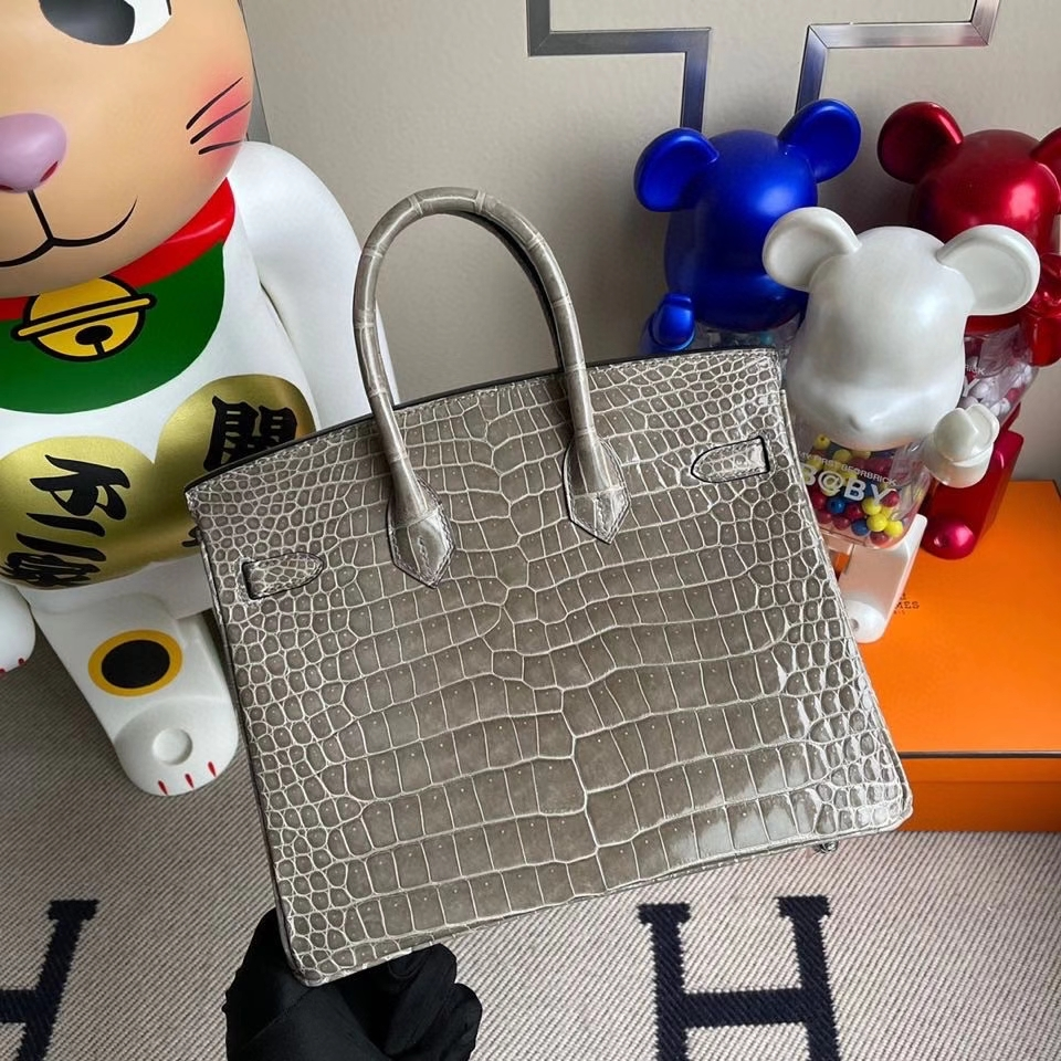 Hermès(爱马仕)Birkin 25cm Porosus shiny 亮面鳄鱼 ck81 斑鸠灰 银扣 顶级手缝