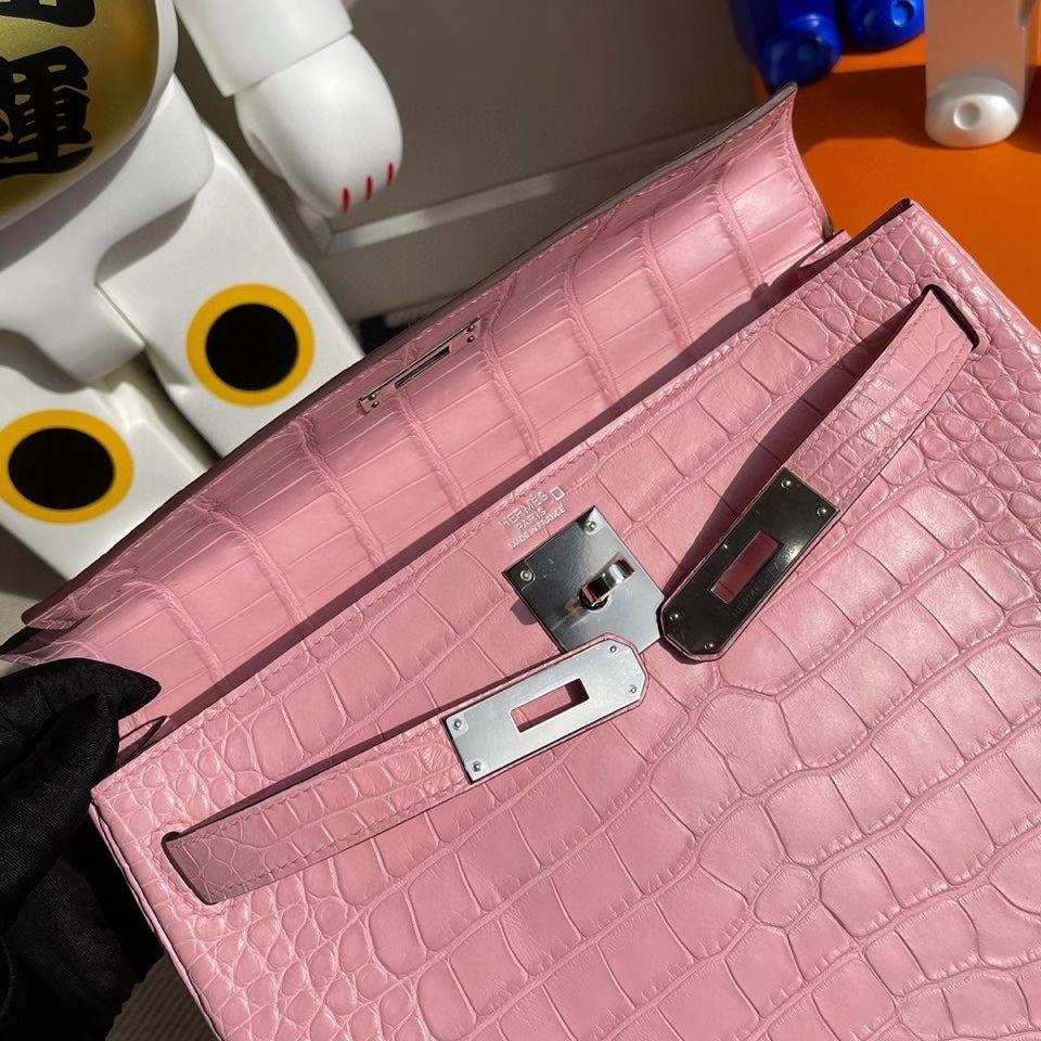 Hermès(爱马仕)Kelly 28cm Alligator matt 雾面鳄鱼 5p 樱花粉 银扣 正品五金 顶级手缝 现货