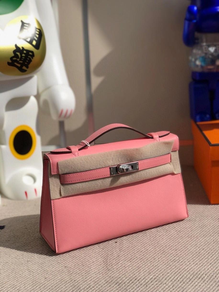 Hermès(爱马仕)Mini kelly swift 1Q奶昔粉 rose confetti 银扣 顶级手缝 手拿包 晚宴包