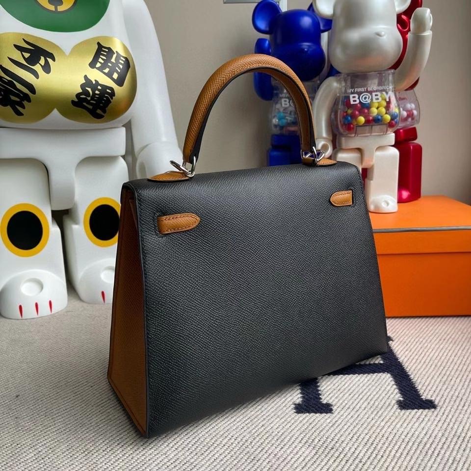 Hermès(爱马仕)kelly 25cm Epsom 原厂掌纹皮  ck89 黑色拼 1H 太妃色 银扣 马蹄印 顶级手缝  现货
