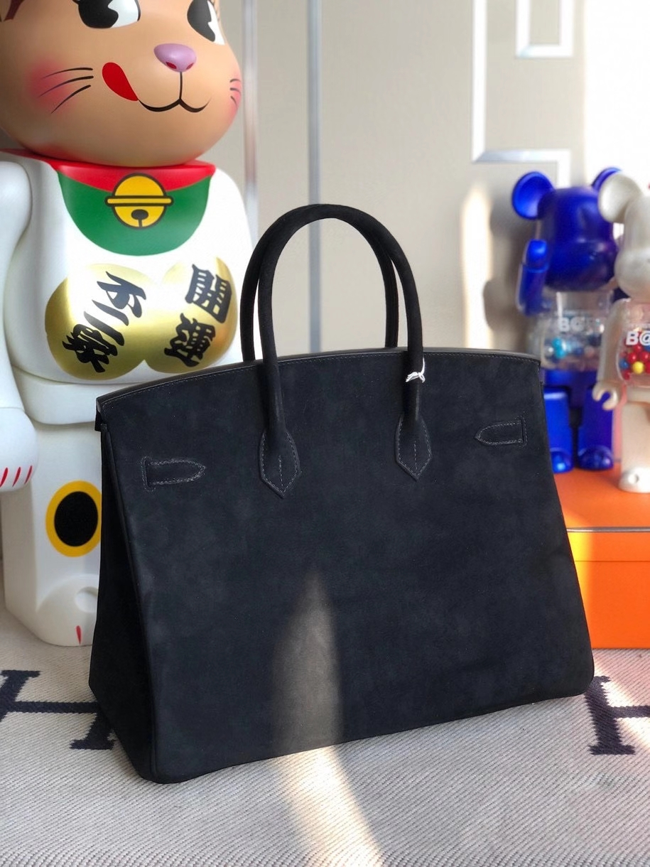 Hermès(爱马仕)Birkin 35cm 麂皮 ck89黑色noir 银扣 顶级手缝
