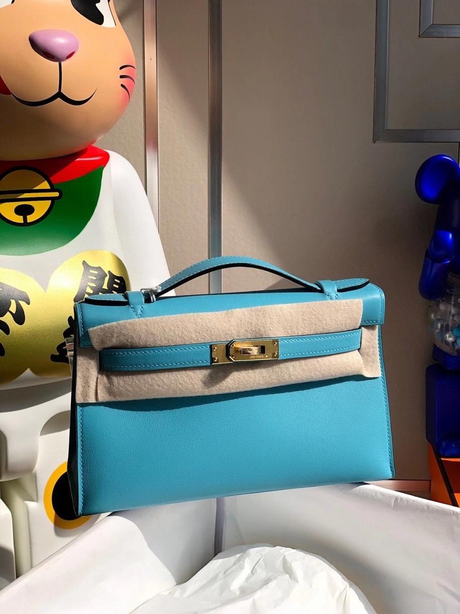 Hermès(爱马仕)Mini kelly swift 北方蓝 金扣 顶级手缝 手拿包 晚宴包