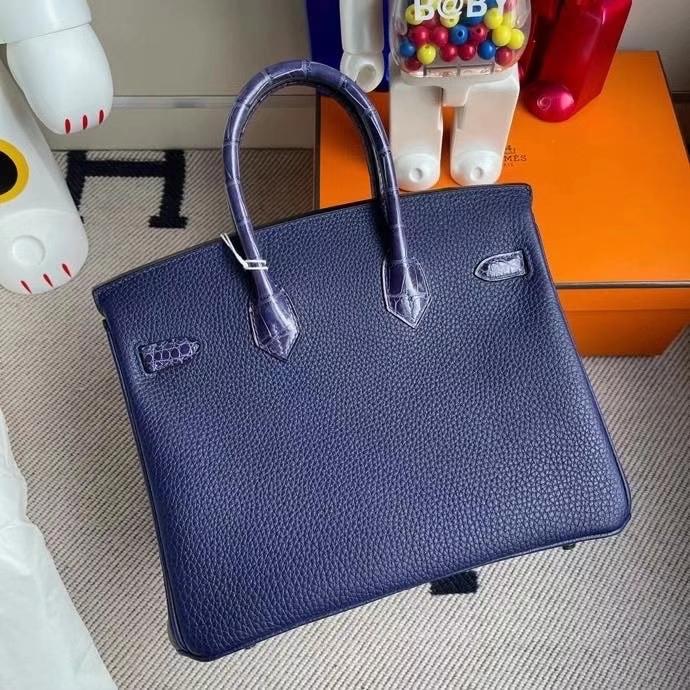 Hermès(爱马仕)Touch 系列 Birkin 25cm M3 墨水蓝拼墨水蓝鳄鱼 银扣 顶级手缝