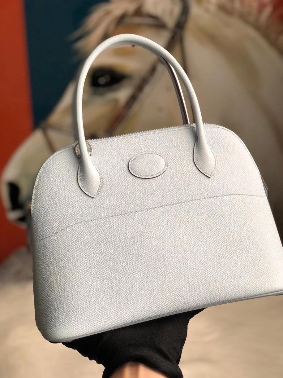 Hermès(爱马仕)Bolide 27cm Epsom 原厂掌纹皮 T0 雾蓝色 银扣 顶级手缝 现货