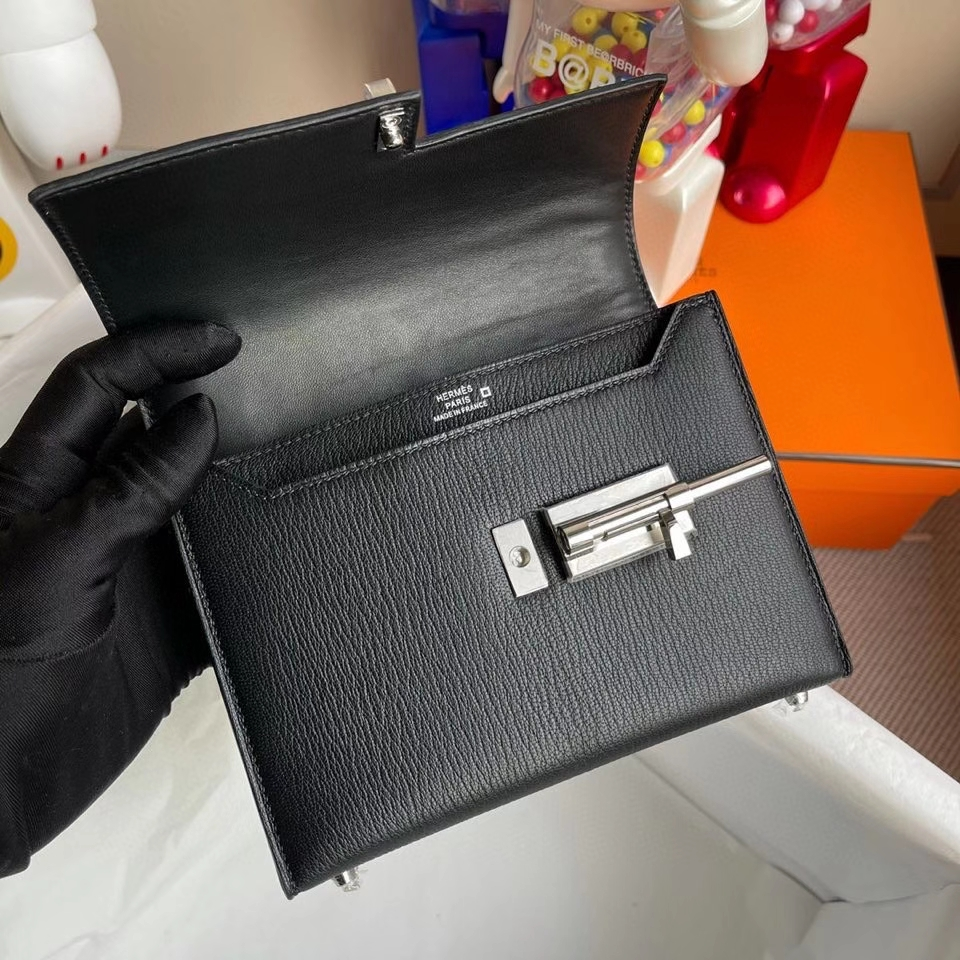 Hermès(爱马仕)Verrou 17cm Chevre 山羊皮拼鳄鱼 黑色 银扣 顶级手缝 定制