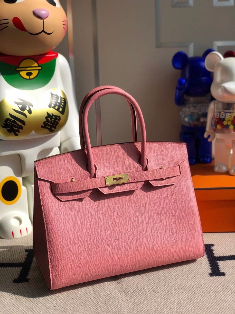 Hermès(爱马仕)Birkin 30cm Epsom 原厂掌纹皮 外缝 1Q奶昔粉 rose confetti 金扣 顶级手缝 定制