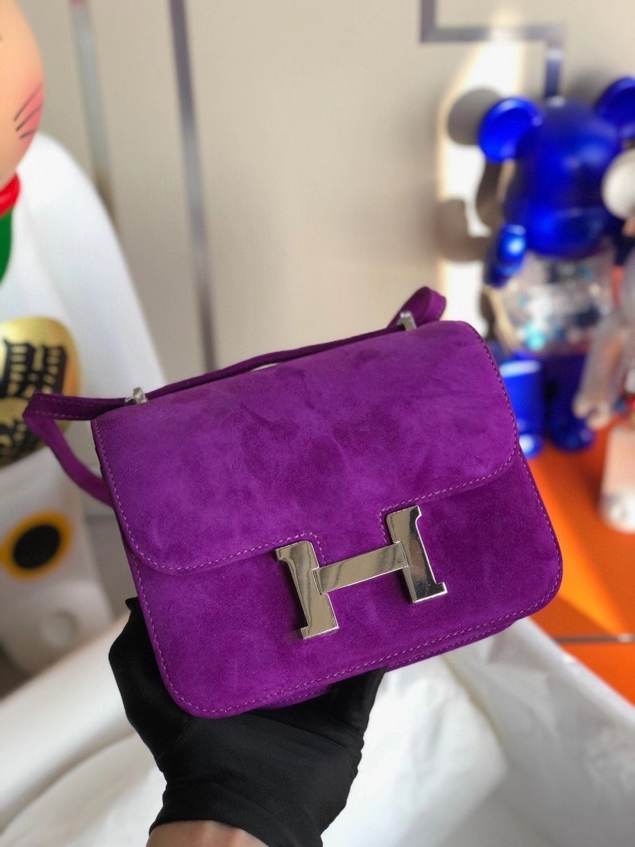 Hermès(爱马仕)Constance 18cm 麂皮 5L 极度紫 银扣
