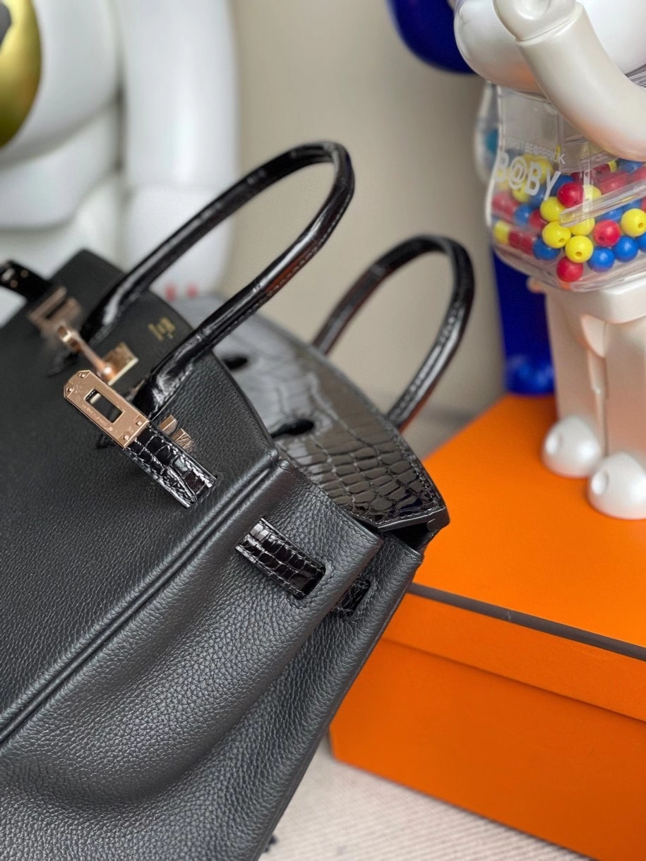 Hermès(爱马仕)Touch系列 Birkin 25cm 黑色 拼亮面鳄鱼 玫瑰金扣 Rose gold