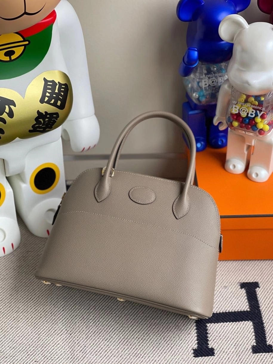 Hermès(爱马仕)Bolide 27cm Epsom 原厂掌纹皮 M8 沥青灰 金扣 顶级手缝