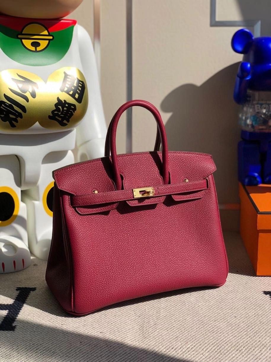 Hermès(爱马仕)Birkin 25cm 原厂小牛皮 togo K1 石榴红 rouge grenat 金扣 顶级手缝 现货