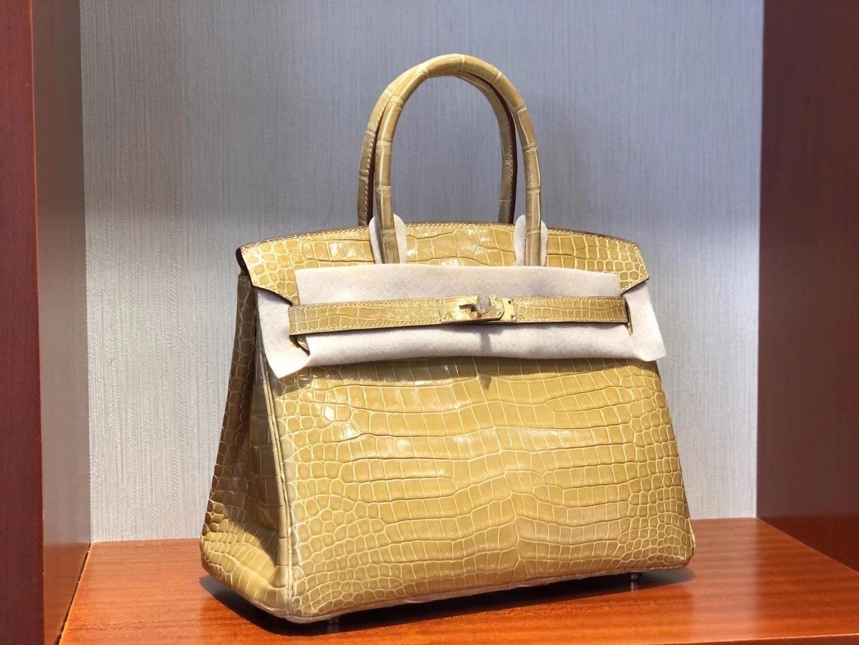 Hermès(爱马仕) Birkin 30cm 亮面倒V 澳洲湾鳄 Shiny Porosus Crocodile Ck14杏色 Beige 金扣 顶级工艺