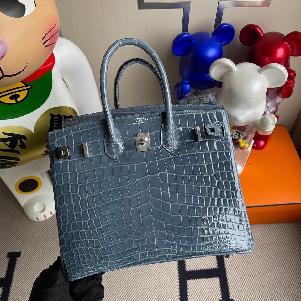 Hermès(爱马仕)Birkin 25cm Crocodile shiny 亮面鳄鱼 N7 风暴蓝 银扣 顶级手缝 定制