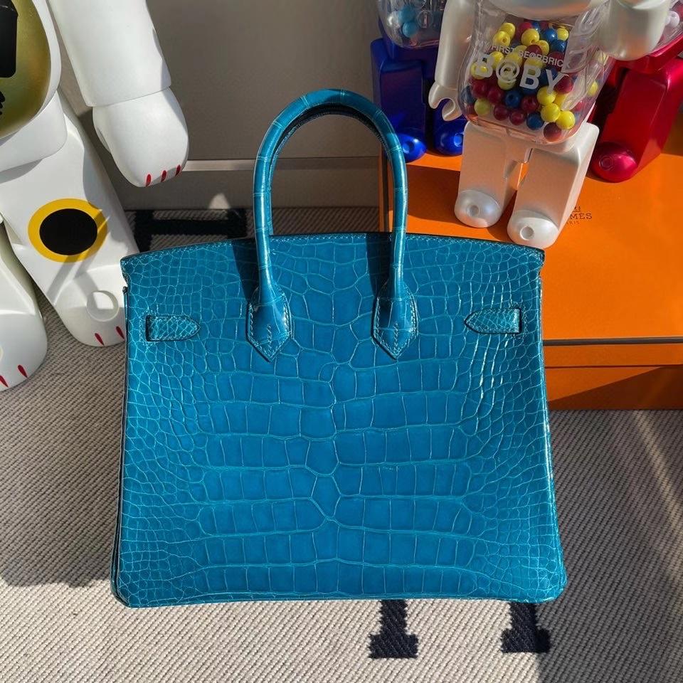 Hermès(爱马仕)Birkin 25cm Alligator shiny 亮面鳄鱼 7w 伊兹密尔蓝 金扣 银扣  顶级手缝 现货