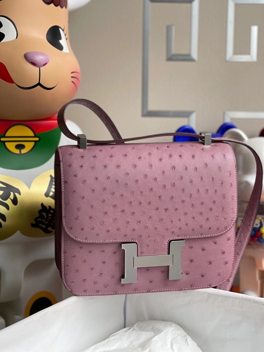 Hermès(爱马仕)Constance 24cm Ostrich kk鸵鸟  薰衣草紫 银扣 顶级手缝 定制