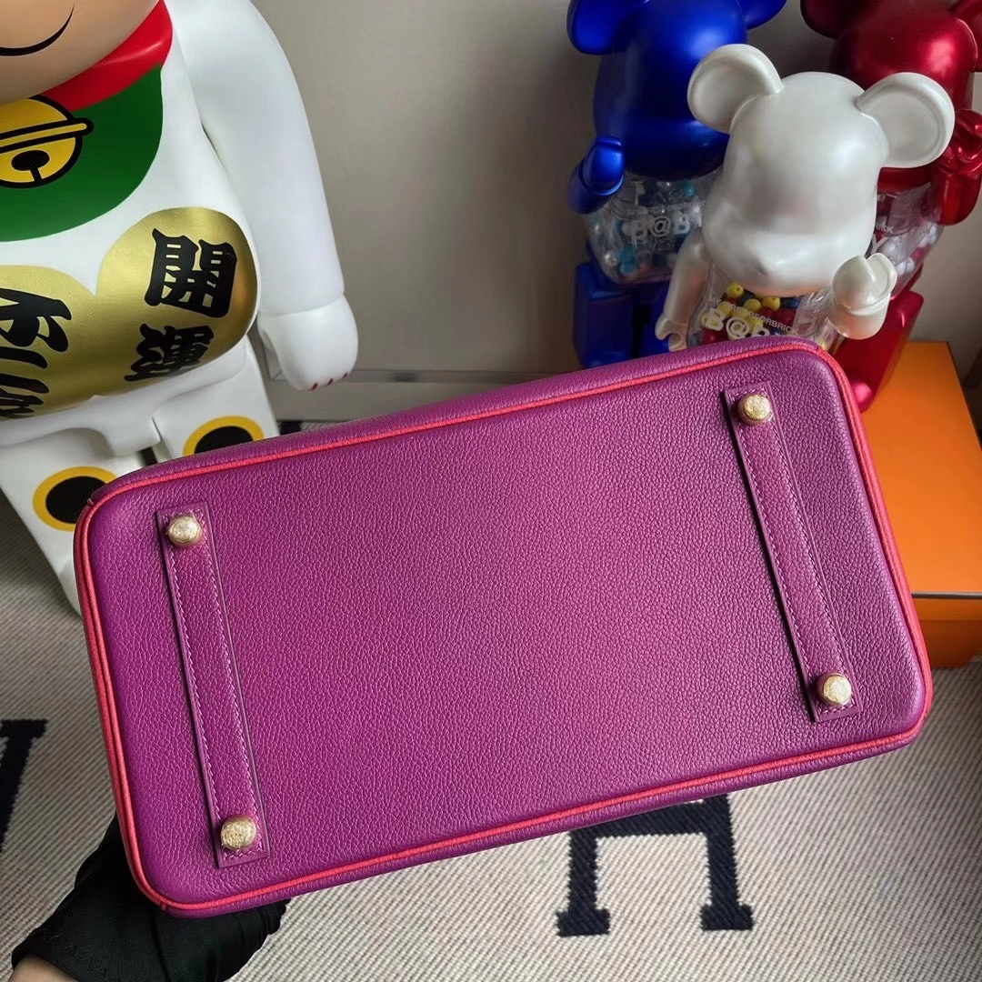 Hermès(爱马仕)Birkin 30cm  海葵紫拼桃红 金扣 马蹄印 顶级手缝