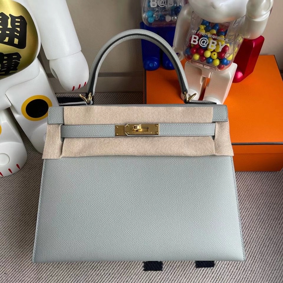 Hermès(爱马仕)Kelly 28cm Epsom 原厂掌纹皮 8U 冰川蓝 金扣 顶级手缝