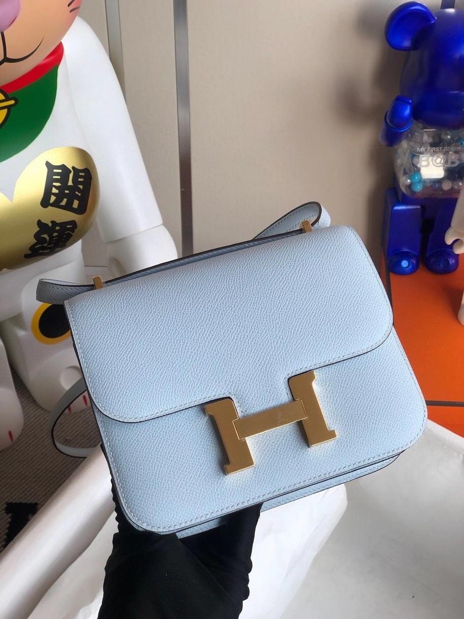 Hermès(爱马仕)Constance 18cm Epsom 原厂掌纹皮 T0雾蓝色 金扣 顶级手缝 定制
