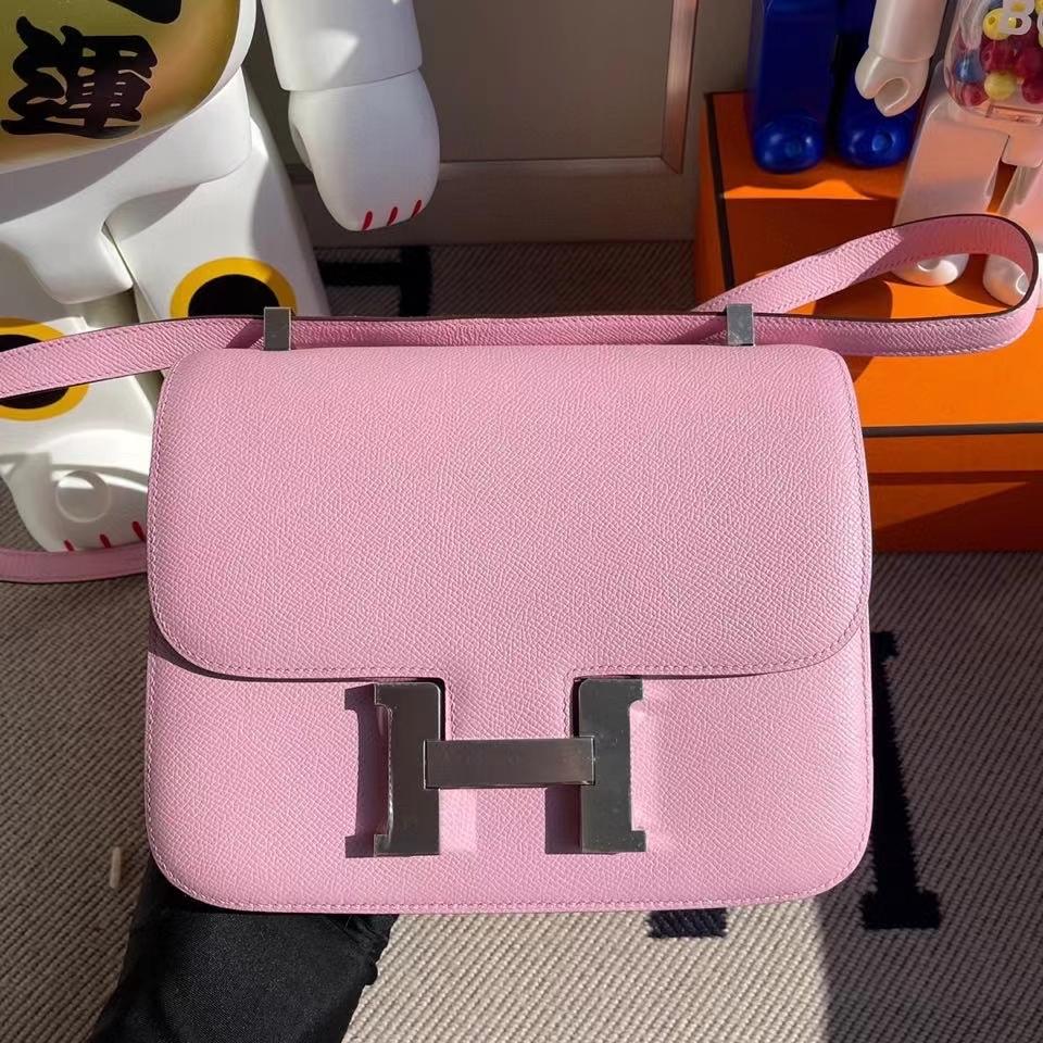 Hermès(爱马仕)Constance 24cm Epsom 原厂掌纹皮 X9 锦葵紫 银扣