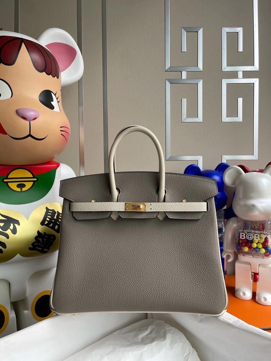 Hermès(爱马仕)Birkin 25cm 原厂小牛皮 togo M8 沥青灰 拼ck10 奶昔白  拉丝金扣 马蹄印 顶级手缝