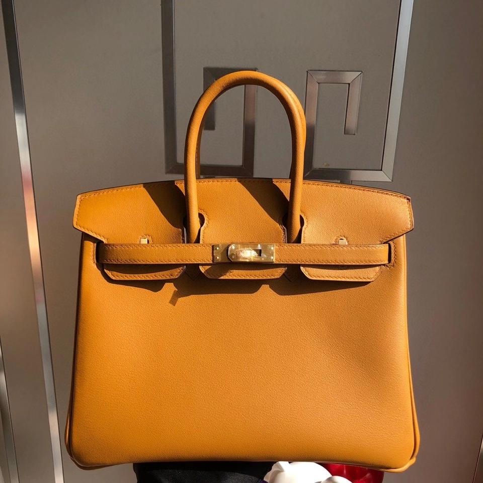 Hermès(爱马仕)Birkin 原厂swift 皮 2S 芝麻黄内拼柠檬黄 拉丝金扣 顶级手缝 25cm